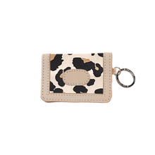 Load image into Gallery viewer, ID Wallet - Leopard Coated Canvas Front Angle in Color 'Leopard Coated Canvas'