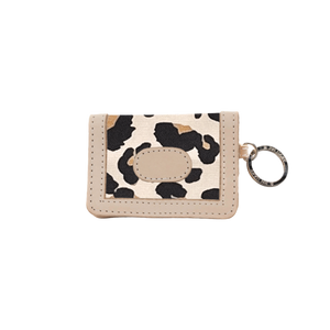 ID Wallet - Leopard Coated Canvas Front Angle in Color 'Leopard Coated Canvas'