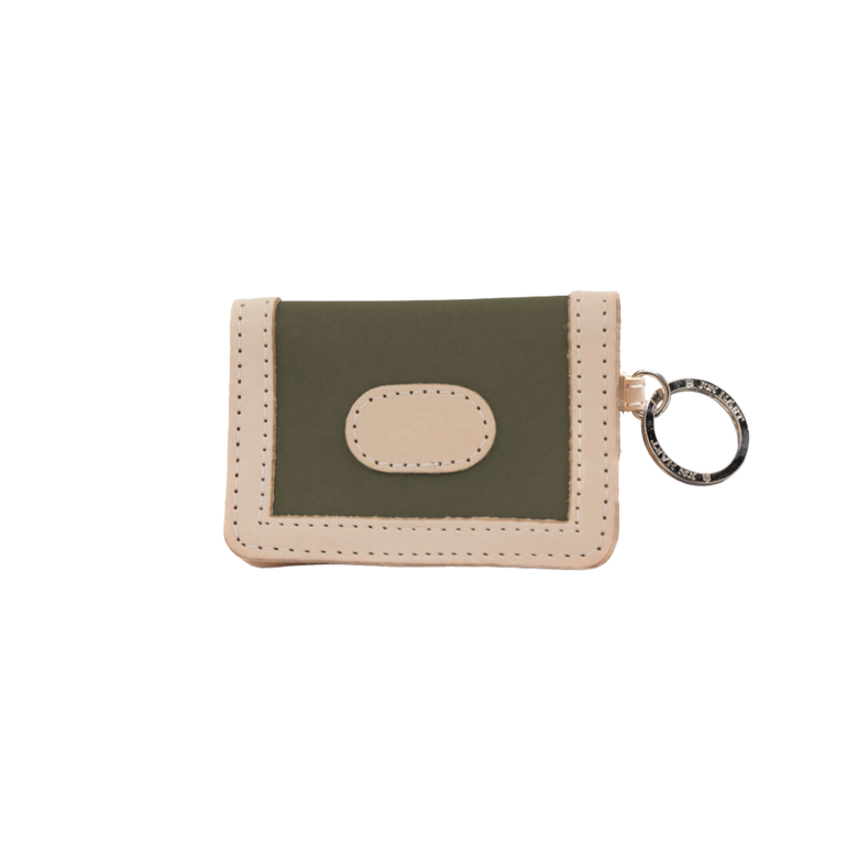 ID Wallet - Moss Coated Canvas Front Angle in Color 'Moss Coated Canvas'