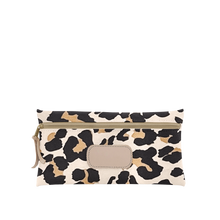 Load image into Gallery viewer, Large Pouch - Leopard Coated Canvas Front Angle in Color 'Leopard Coated Canvas'