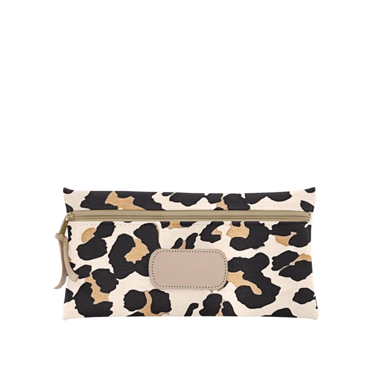 Large Pouch - Leopard Coated Canvas Front Angle in Color 'Leopard Coated Canvas'