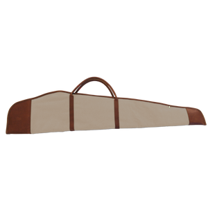 Rifle Cover - Tan Coated Canvas Front Angle in Color 'Tan Coated Canvas'