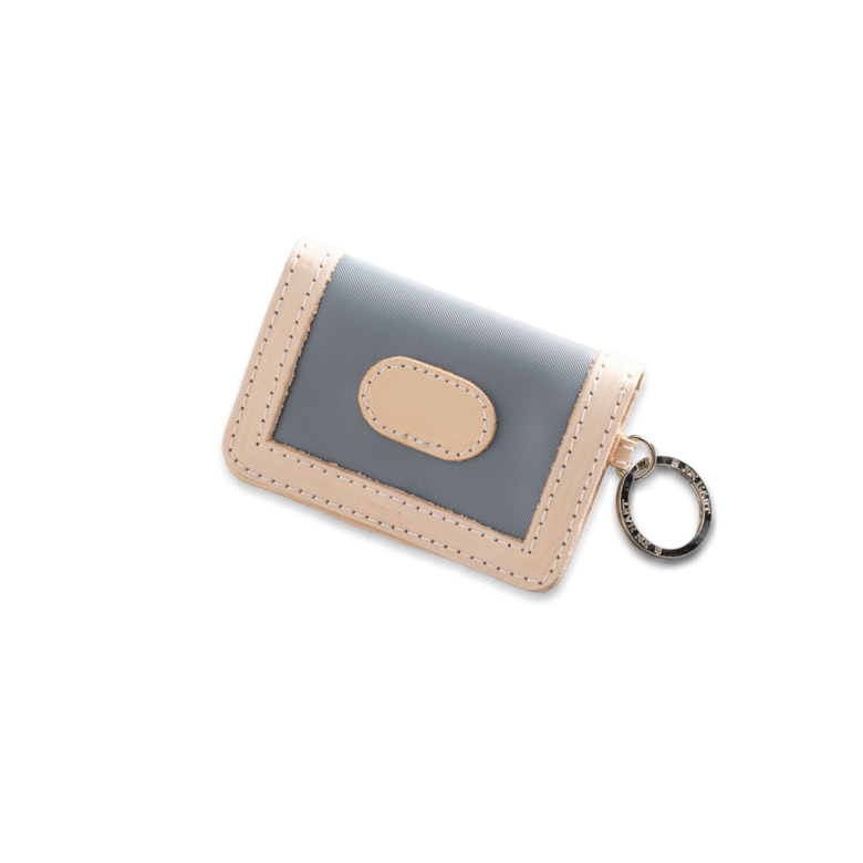 Quality made in America durable coated canvas ID wallet key chain with leather patch to personalize with initials or monogram