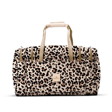 Load image into Gallery viewer, Medium Square Duffel - Leopard Coated Canvas Front Angle in Color 'Leopard Coated Canvas'