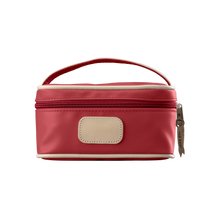 Load image into Gallery viewer, Mini Makeup Case - Red Coated Canvas Front Angle in Color 'Red Coated Canvas'