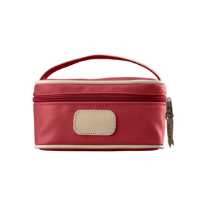 Mini Makeup Case - Red Coated Canvas Front Angle in Color 'Red Coated Canvas'