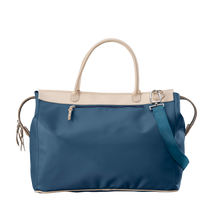 Load image into Gallery viewer, Burleson Bag - French Blue Coated Canvas Front Angle in Color 'French Blue Coated Canvas'