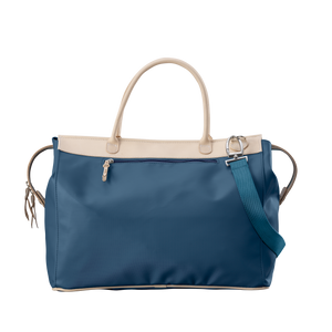 Burleson Bag - French Blue Coated Canvas Front Angle in Color 'French Blue Coated Canvas'