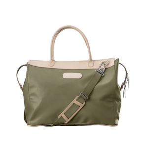 Burleson Bag - Moss Coated Canvas Front Angle in Color 'Moss Coated Canvas'