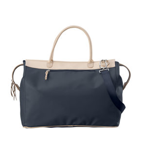 Burleson Bag - Navy Coated Canvas Front Angle in Color 'Navy Coated Canvas'