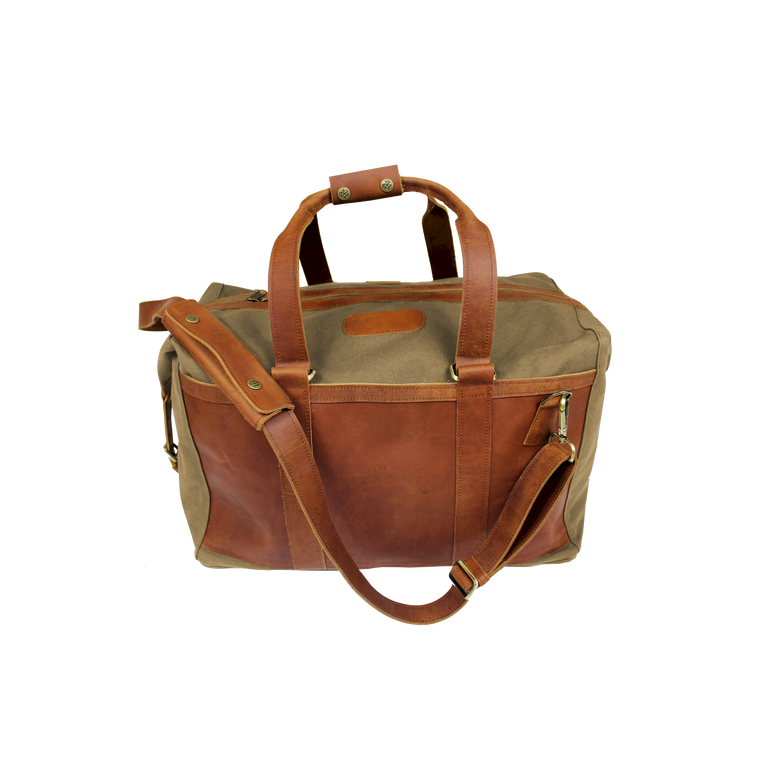 JH Duffel - Khaki Canvas Front Angle in Color 'Khaki Canvas'