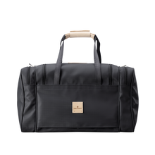 Load image into Gallery viewer, Medium Square Duffel - Black Coated Canvas Front Angle in Color 'Black Coated Canvas'