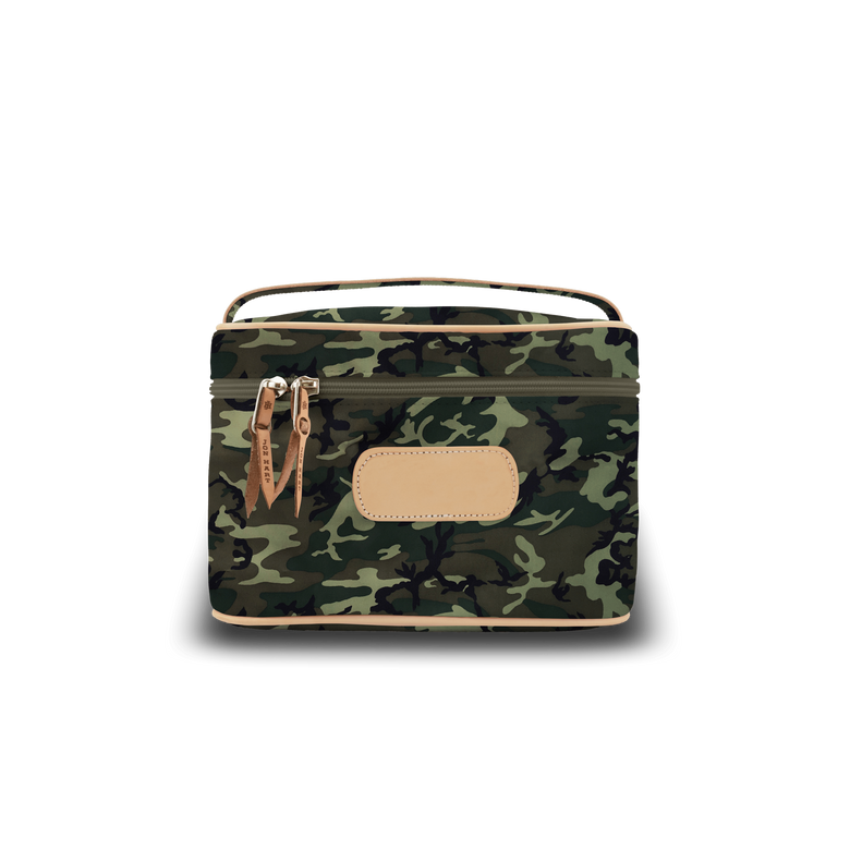 Makeup Case - Classic Camo Coated Canvas Front Angle in Color 'Classic Camo Coated Canvas'