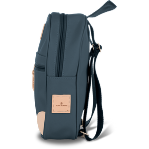 Mini Backpack - French Blue Coated Canvas Front Angle in Color 'French Blue Coated Canvas'