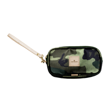 Load image into Gallery viewer, Wristlet - Classic Camo Coated Canvas Front Angle in Color 'Classic Camo Coated Canvas'