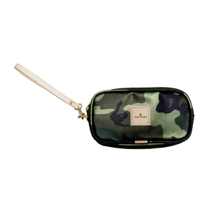 Wristlet - Classic Camo Coated Canvas Front Angle in Color 'Classic Camo Coated Canvas'