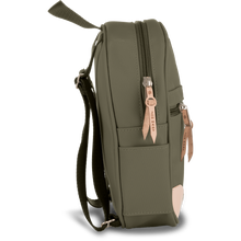 Load image into Gallery viewer, Mini Backpack - Moss Coated Canvas Front Angle in Color 'Moss Coated Canvas'