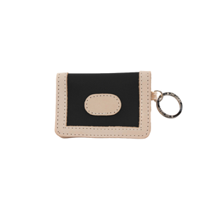 ID Wallet - Black Coated Canvas Front Angle in Color 'Black Coated Canvas'