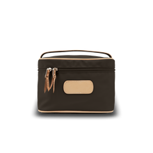 Load image into Gallery viewer, Makeup Case - Espresso Coated Canvas Front Angle in Color 'Espresso Coated Canvas'