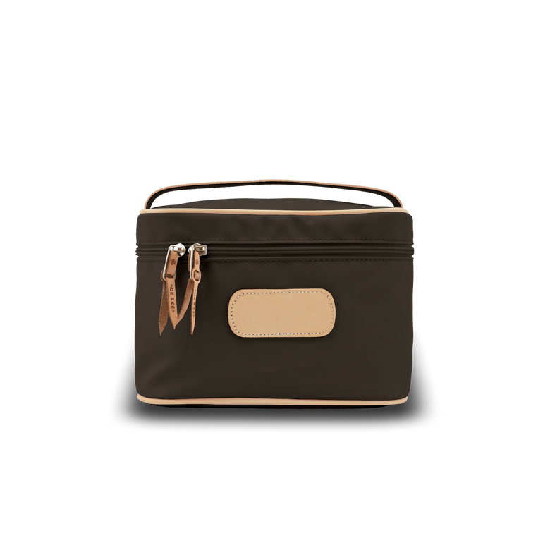 Makeup Case - Espresso Coated Canvas Front Angle in Color 'Espresso Coated Canvas'