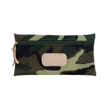 Load image into Gallery viewer, Large Pouch - Classic Camo Coated Canvas Front Angle in Color 'Classic Camo Coated Canvas'