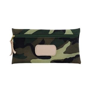 Large Pouch - Classic Camo Coated Canvas Front Angle in Color 'Classic Camo Coated Canvas'