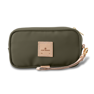 Wristlet - Moss Coated Canvas Front Angle in Color 'Moss Coated Canvas'