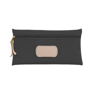 Large Pouch - Charcoal Coated Canvas Front Angle in Color 'Charcoal Coated Canvas'