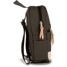 Load image into Gallery viewer, Mini Backpack - Espresso Coated Canvas Front Angle in Color 'Espresso Coated Canvas'