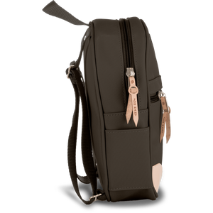 Mini Backpack - Espresso Coated Canvas Front Angle in Color 'Espresso Coated Canvas'
