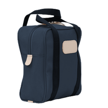 Load image into Gallery viewer, Shag Bag - Navy Coated Canvas Front Angle in Color 'Navy Coated Canvas'