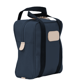 Shag Bag - Navy Coated Canvas Front Angle in Color 'Navy Coated Canvas'