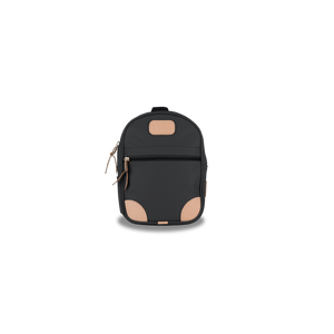 Mini Backpack - Charcoal Coated Canvas Front Angle in Color 'Charcoal Coated Canvas'