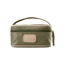 Load image into Gallery viewer, Mini Makeup Case - Moss Coated Canvas Front Angle in Color 'Moss Coated Canvas'
