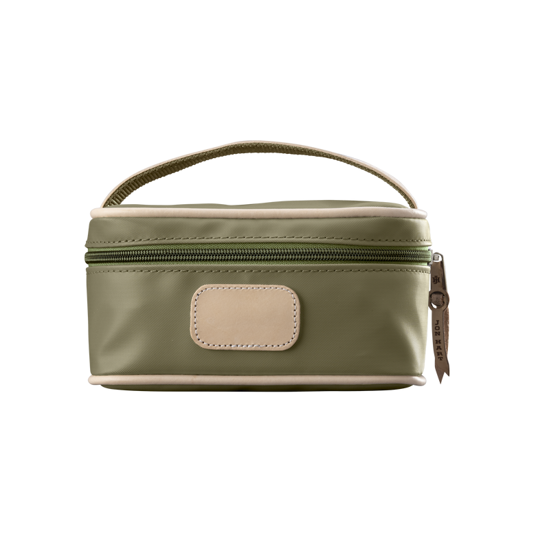 Mini Makeup Case - Moss Coated Canvas Front Angle in Color 'Moss Coated Canvas'