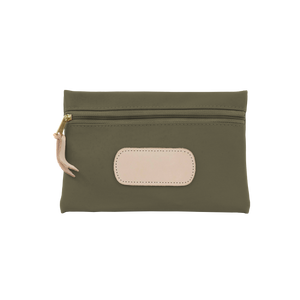 Pouch - Moss Coated Canvas Front Angle in Color 'Moss Coated Canvas'