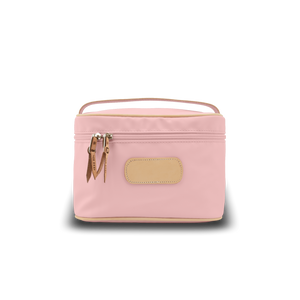 Makeup Case - Rose Coated Canvas Front Angle in Color 'Rose Coated Canvas'