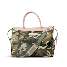 Load image into Gallery viewer, Burleson Bag - Classic Camo Coated Canvas Front Angle in Color 'Classic Camo Coated Canvas'
