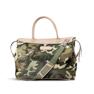 Burleson Bag - Classic Camo Coated Canvas Front Angle in Color 'Classic Camo Coated Canvas'