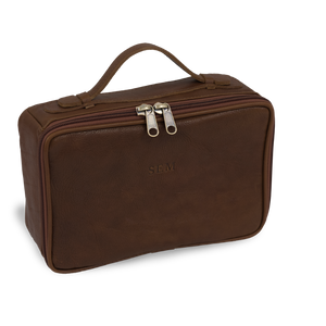 JH Dopp Kit - Bourbon Leather Front Angle in Color 'Bourbon Leather'
