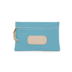 Pouch - Ocean Blue Coated Canvas Front Angle in Color 'Ocean Blue Coated Canvas'