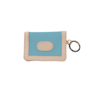 ID Wallet - Ocean Blue Coated Canvas Front Angle in Color 'Ocean Blue Coated Canvas'
