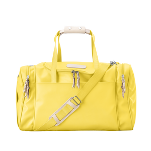 Medium Square Duffel - Lemon Coated Canvas Front Angle in Color 'Lemon Coated Canvas'