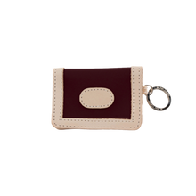 Load image into Gallery viewer, ID Wallet - Burgundy Coated Canvas Front Angle in Color 'Burgundy Coated Canvas'