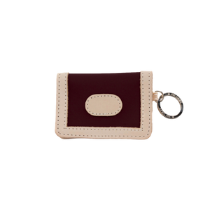 ID Wallet - Burgundy Coated Canvas Front Angle in Color 'Burgundy Coated Canvas'