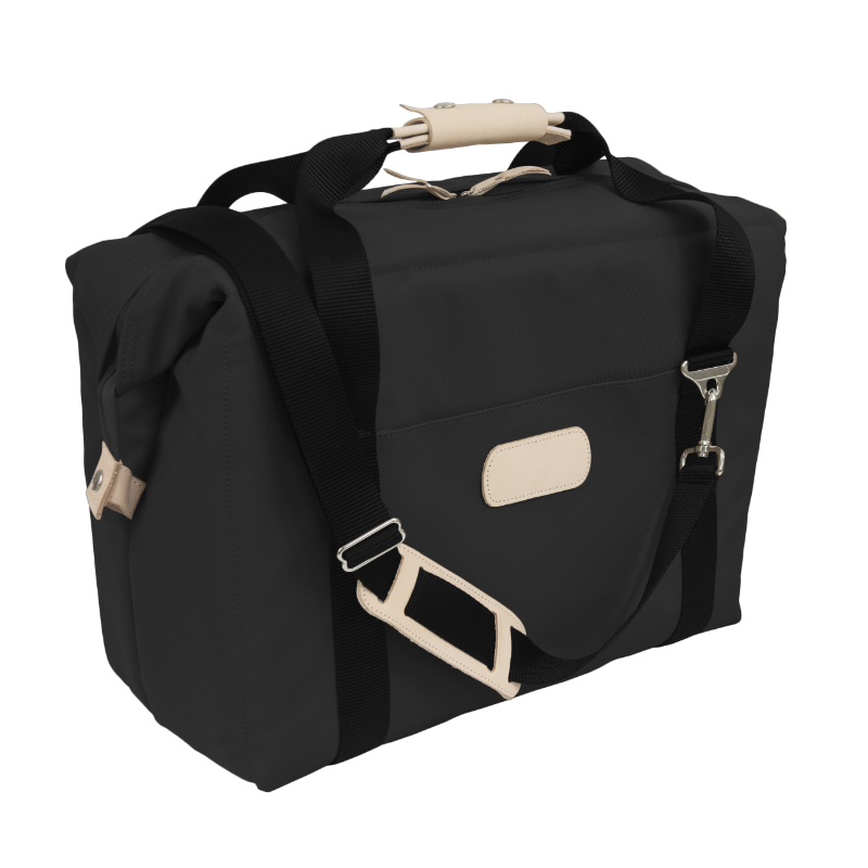 Large Cooler - Black Coated Canvas Front Angle in Color 'Black Coated Canvas'