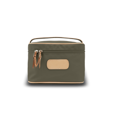 Load image into Gallery viewer, Makeup Case - Moss Coated Canvas Front Angle in Color 'Moss Coated Canvas'