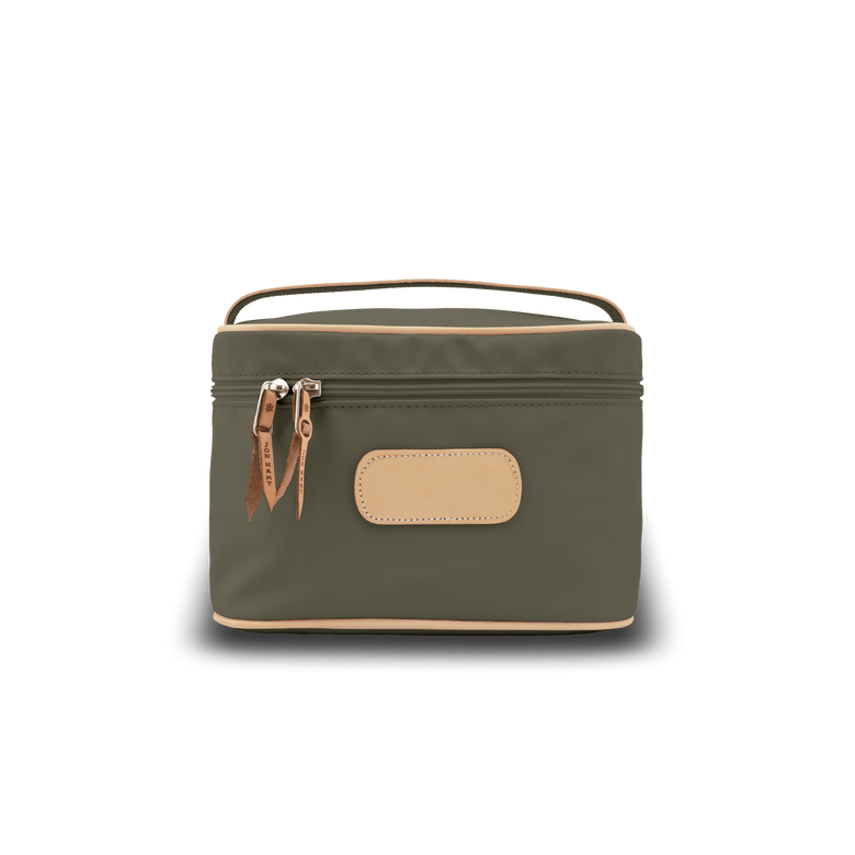 Makeup Case - Moss Coated Canvas Front Angle in Color 'Moss Coated Canvas'