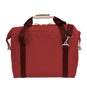 Large Cooler - Red Coated Canvas Front Angle in Color 'Red Coated Canvas'