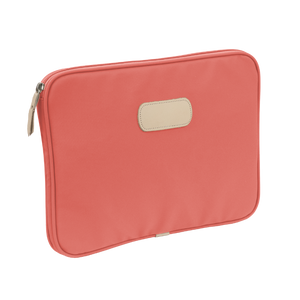 "13"" Computer Case - Coral Coated Canvas Front Angle in Color 'Coral Coated Canvas'"